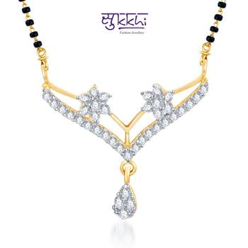 Sukkhi Youthful Trendy CZ Gold and Rhodium Plated mangalsutra(115M650)