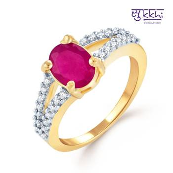 Sukkhi Splendid Gold and Rhodium Plated Ruby CZ rings(184R790)
