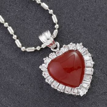 Red Agate Heart Silver Pendant