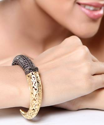 Rustic Cuff Bracelet with Black CZ