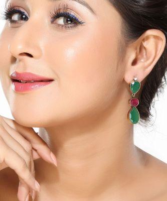 Ruby, Emerald and CZ Dangler Earrings