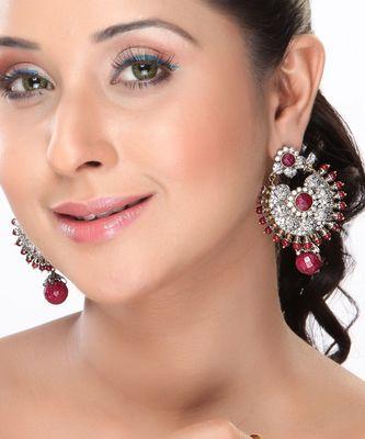 Rubies Beads Chand Bali studded with CZ