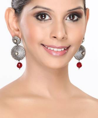 Pave set CZ with Pearl and Ruby Circular Earrings