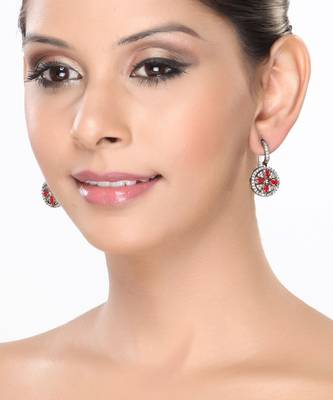 Round Earrings with Red Onyx and White CZ