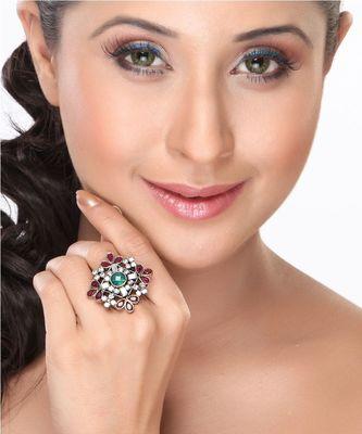 Emerald, Ruby and CZ Diamond Design Ring