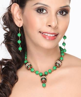 Green Onyx and Meenakari Beads Necklace set