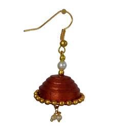 Handmade Paper Jwellery/Quilled Earings -Bronze jhumkas