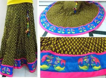 Block printed brown n ochre yellow  cotton long skirt