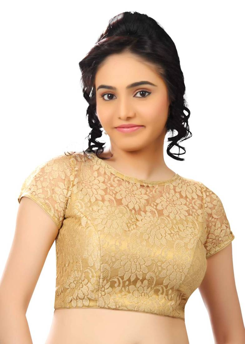 Buy gold net readymade-blouse Online