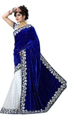 Blue  and  White embroidered velvet saree