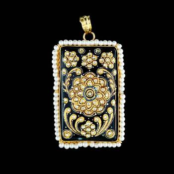 Rectangle Flower Tanjore Pendant