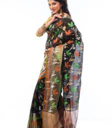 Buy Black hand_woven chanderi saree with blouse chanderi-saree online