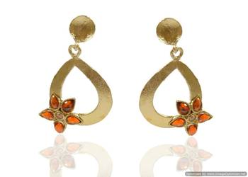 Kshitij Golden silver drop earrings with floral design