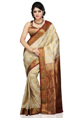 Off White and Maroon woven art_silk saree with blouse