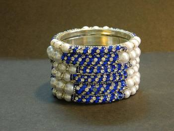 Sparkly Blue Color Bangles with White Pearl