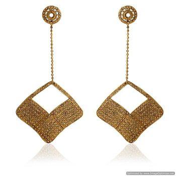 Kshitij Golden square shaped earrings