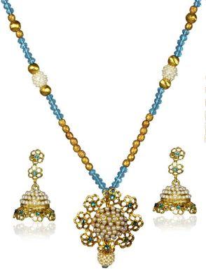 Kshitij Elite Golden & Red Necklace Set