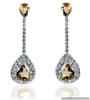 Kshitij Jewels Crystal Stone Studded Long Earrings - Yellow