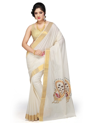 Fashionkiosks Cream cotton embroidary saree