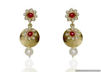 Kshitij Jewels Red Flower Golden Earrings