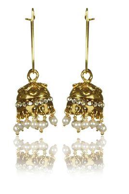 Kshitij Jewels Long Golden Jhumka Earrings