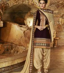 Buy Brown Cotton unstitched salwar with dupatta punjabi-suit online