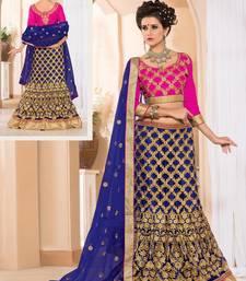 Buy Blue Embroidered Net unstitched lehenga-choli lehenga-choli online
