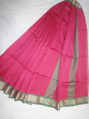 rani pink woven maheshwari saree with blouse