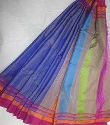 Buy blue embroidered maheshwari saree with blouse maheshwari-saree online