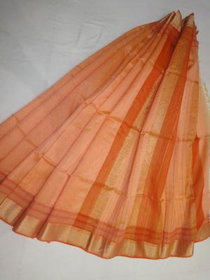 orange woven maheshwari saree with blouse