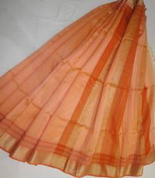 Buy orange woven maheshwari saree with blouse maheshwari-saree online