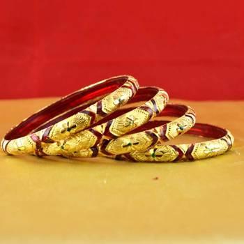 Rajasthani gokharoo,kara churi meenakari,moti,cz,stone,bangles size-2.4
