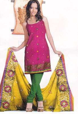 VJust Women - Fuschia Pink Unstitched Satin Salwar Suit
