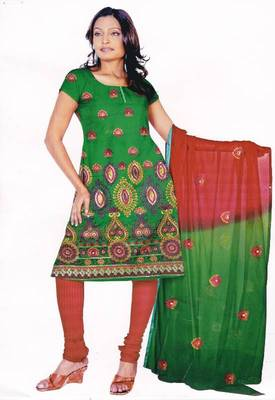 Red & Green Unstitched Cotton Salwar Suit, by Just Women