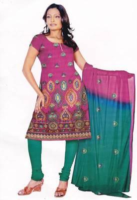 Pink & Blue Unstitched Cotton Salwar Suit, by Just Women
