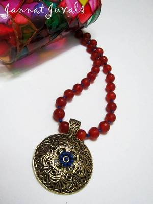 Orange and Blue Pendant necklace