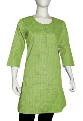 Just Women - Elegant Green Yellow Kurti