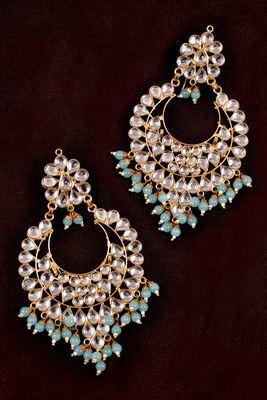 Sky Beads and Kundan Embellished Dangler Earrings