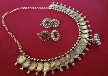 Eid Special -Chand Tara Basic Coin Necklace with Jhumkas (Pearl)