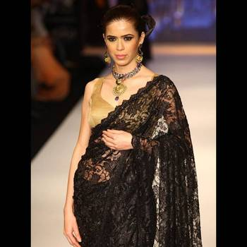Black Oriental Lace Saree