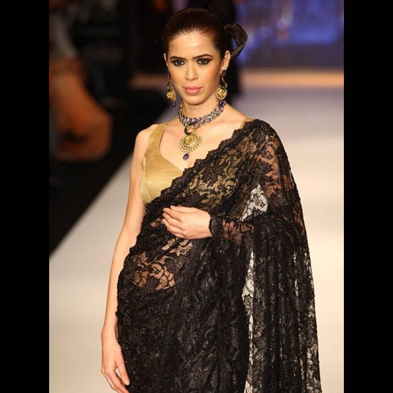 Buy Black Oriental Lace Saree Online